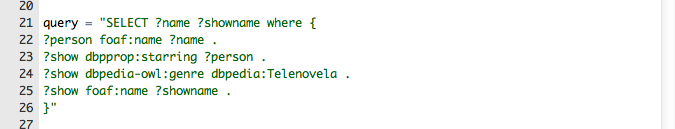sparql query to find how telenovelas stars are related by the shows they are in