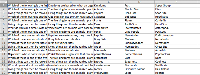 Biology Revision Spreadsheet